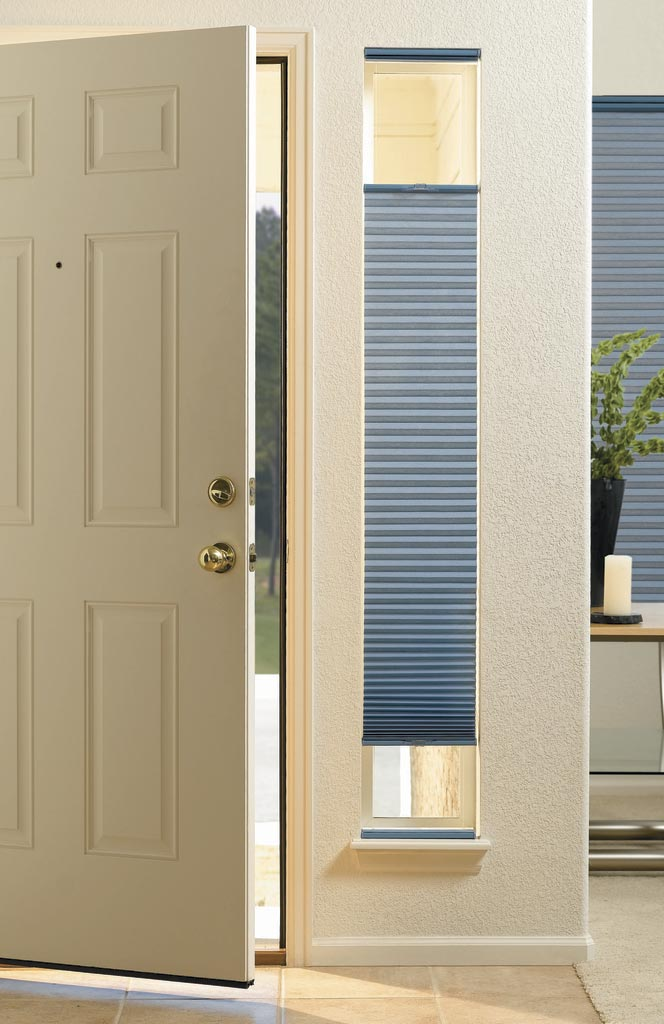 Hunter Douglas Duette Cordless Sidelight Shades in an entryway sidelight