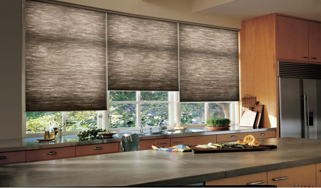Duette window coverings in a kitchen