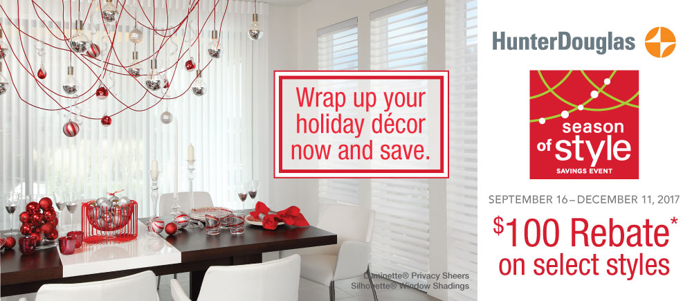 Hunter Douglas Season of Style Savings Event Promotion