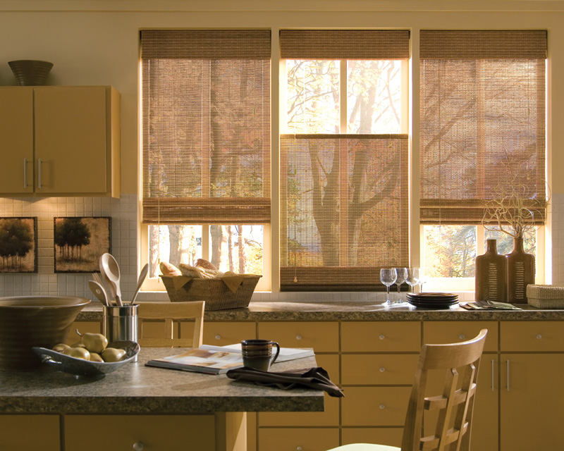 Hunter Douglas Provenance® Wood Shades in a kitchen with an island