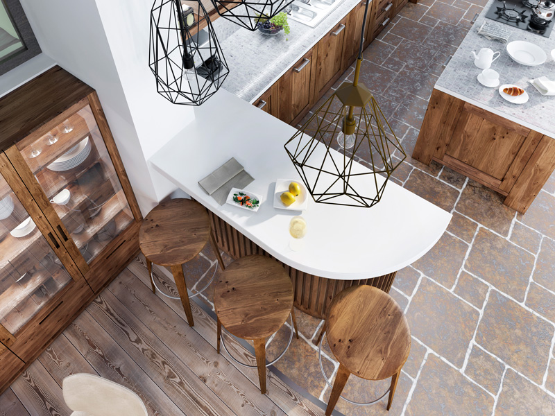 modern industrial pendent lighting over kitchen island