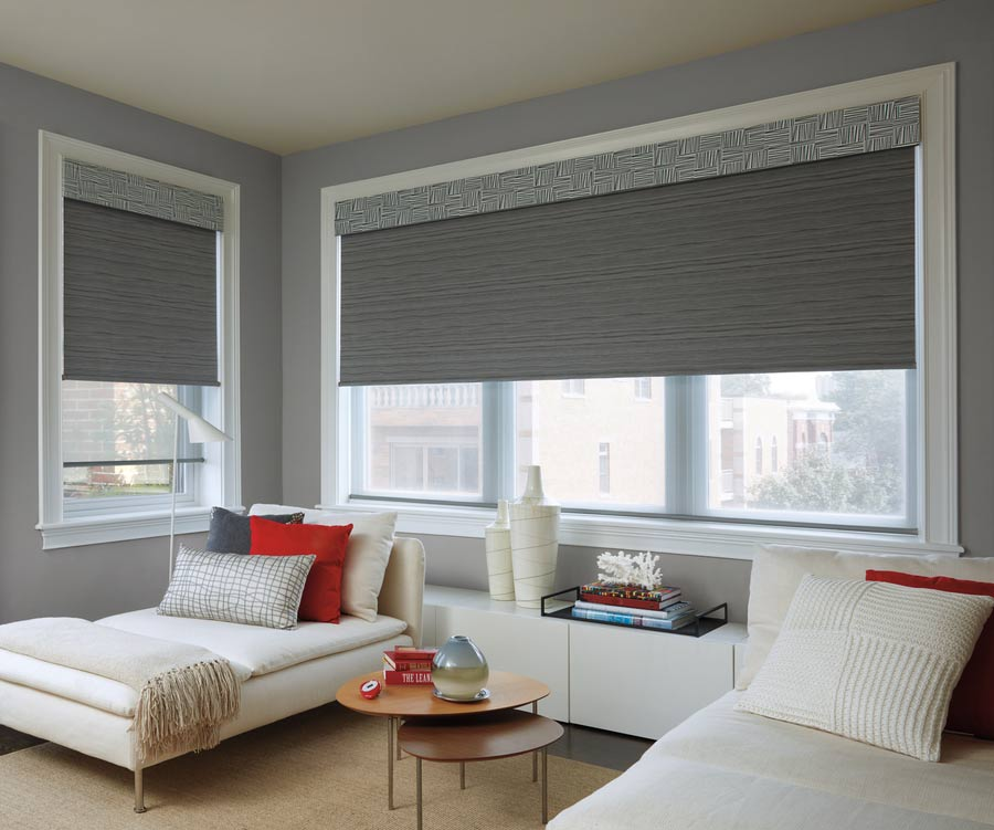 Hunter Douglas Designer Roller Shades with PowerView® Motorization in guest bedroom