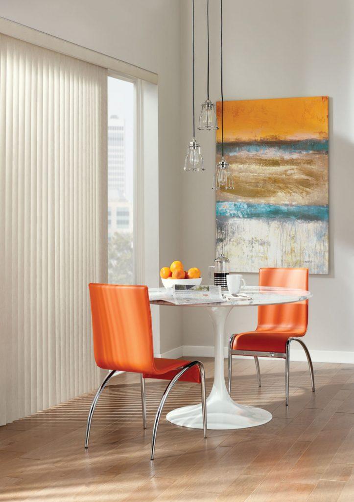 Hunter Douglas Somner® Custom Vertical Blinds in dining room