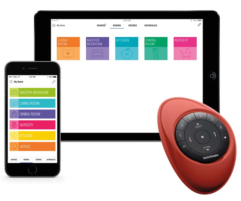 Hunter Douglas PowerView™ App for iPhone, PowerView™ App for iPad, and PowerView™ Motorization Pebble™ Remote