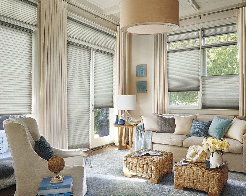 Hunter Douglas Alustra® Collection of Duette Architella® in a nicely designed family room