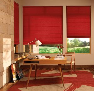 Home Office with Hunter Douglas Design Studio™ Roman shades