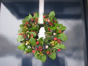 Wreath on Glass Door