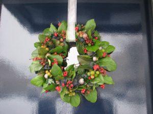 Wreath on Glass Door