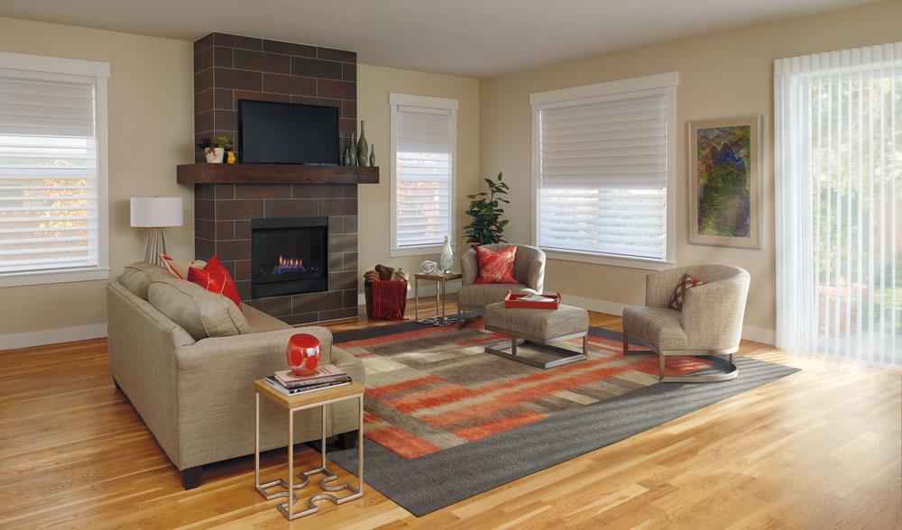 living room with remote controlled window treatments