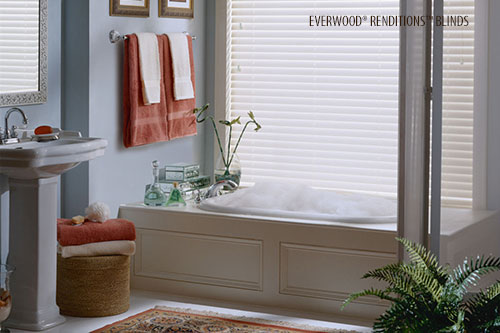 Hunter Douglas EverWood® Renditions™ Blinds in a bathroom