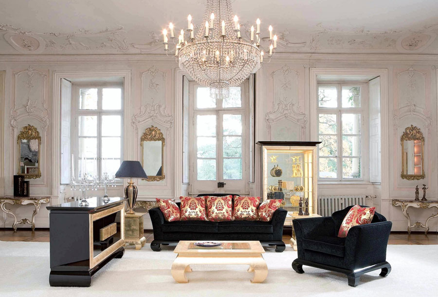 formal room with chandelier
